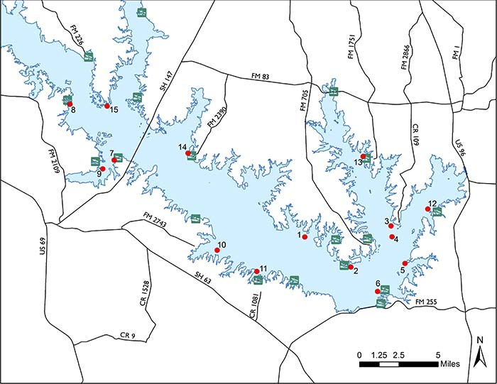 map of sam rayburn lake Fish Attractors In Sam Rayburn Reservoir map of sam rayburn lake
