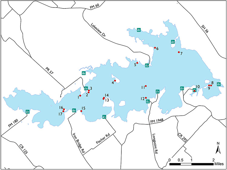 Lake Somerville Fish Attractors