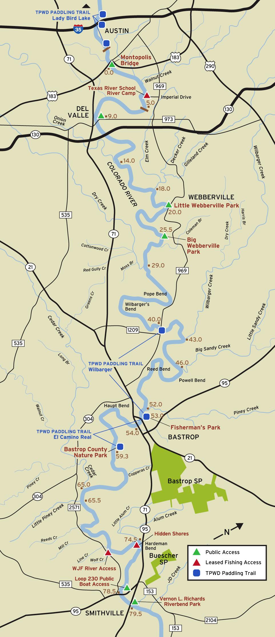 Colorado River Fishing Access - Map of colorado river in texas