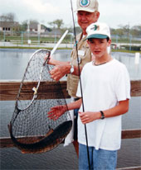 Youth fishing volunteer