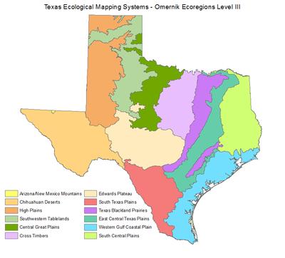 Omernik Ecoregions Level Iii Emst Texas Parks Amp Wildlife