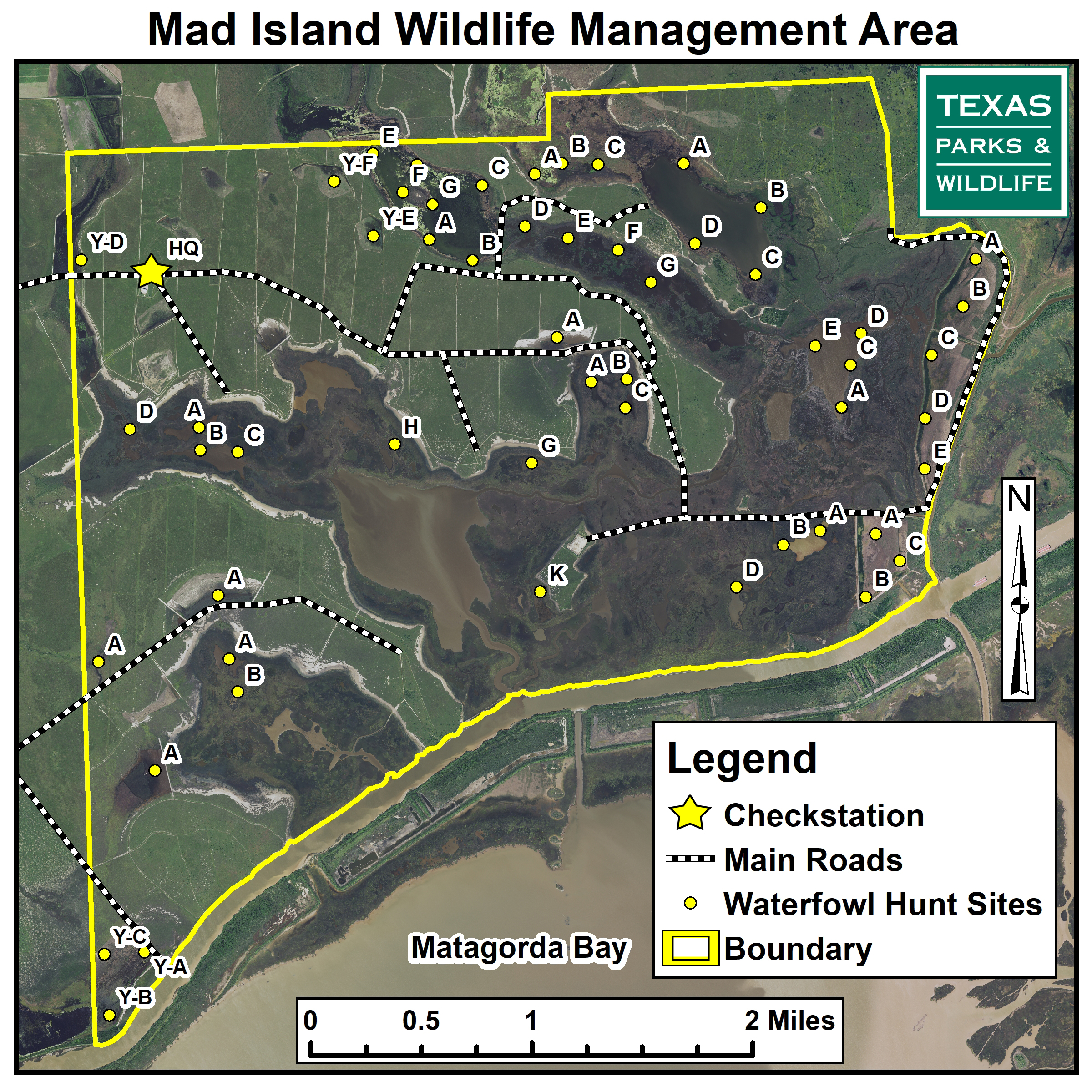 thumbnail image of arial map of Mad Island WMA Waterfowl Hunt Sites