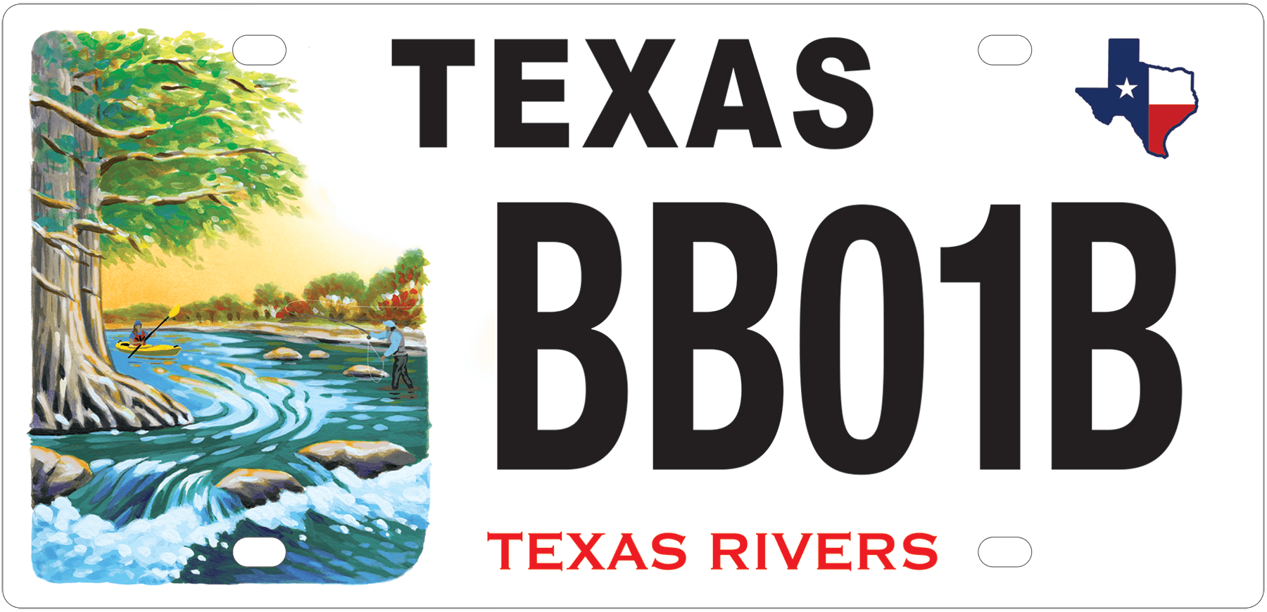 sample Texas Rivers license plate