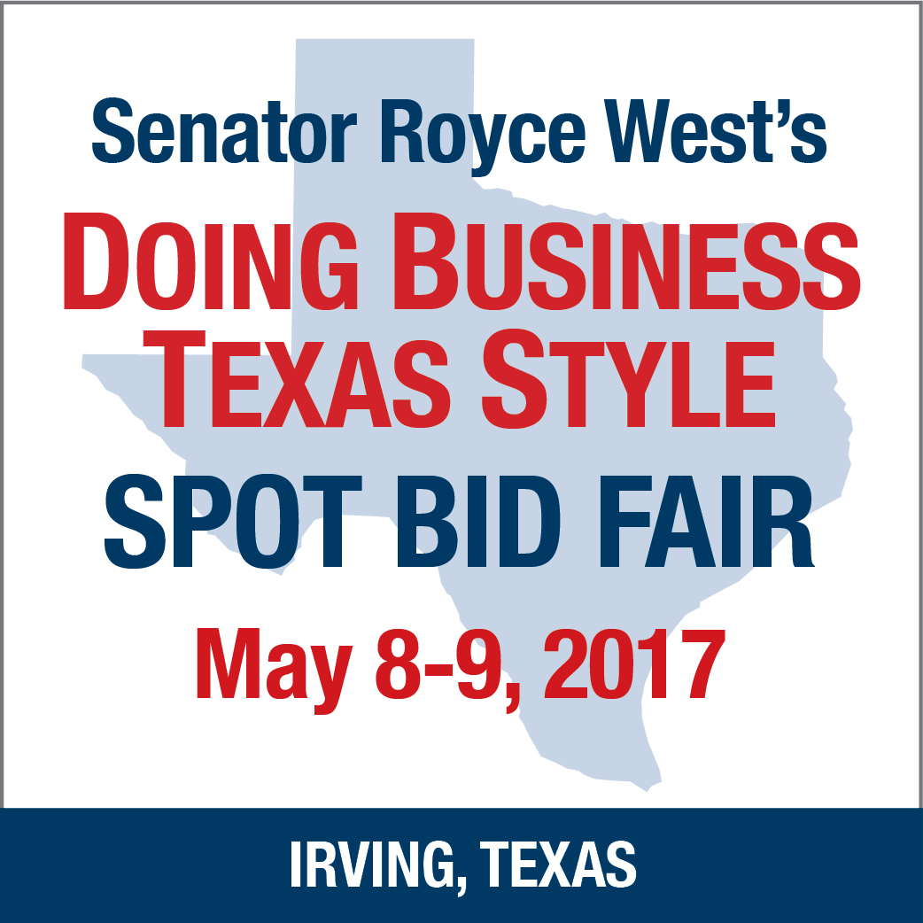 Senator West's Doing Business Texas Style Spot Bid Fair