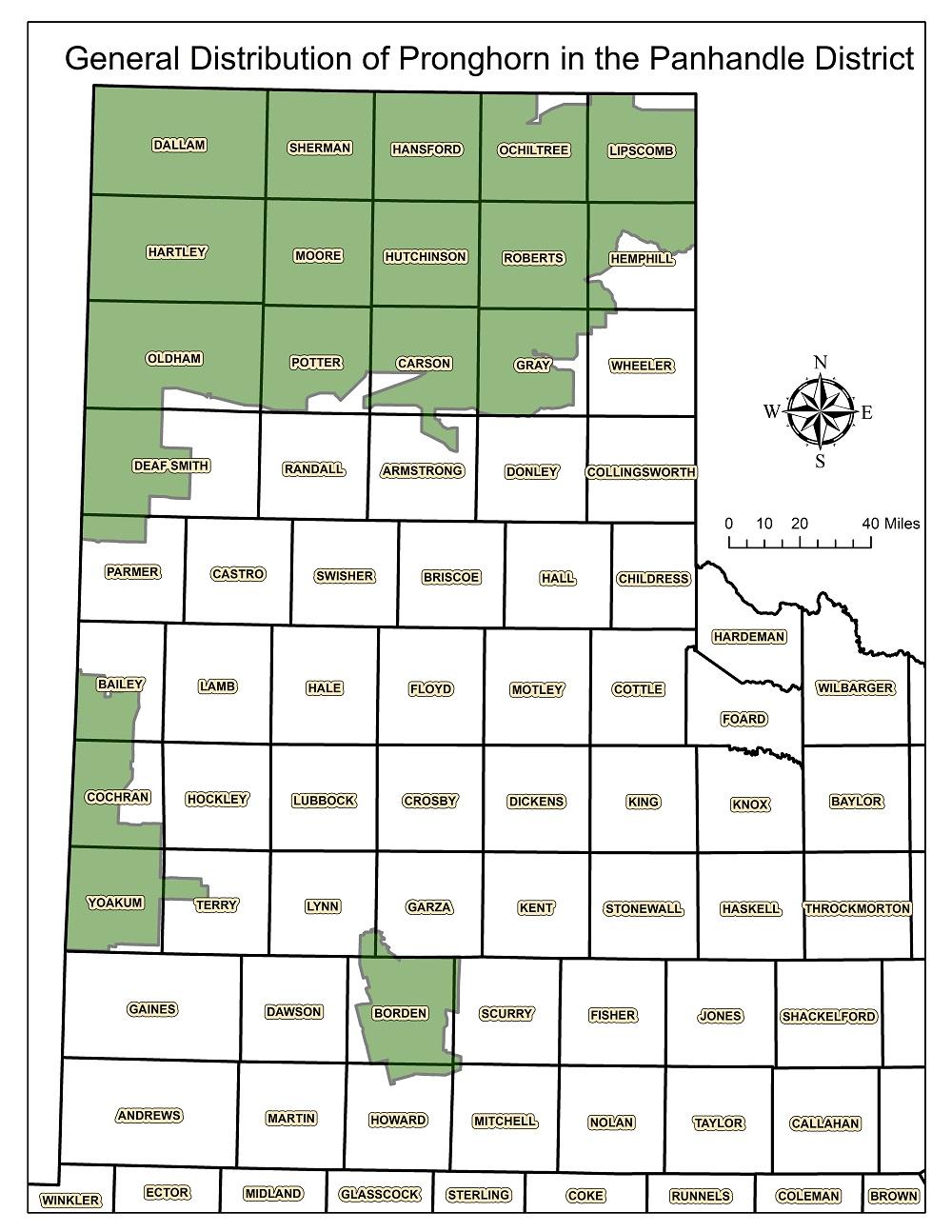 Distribution of Pronghorn Antelope Texas Panhandle