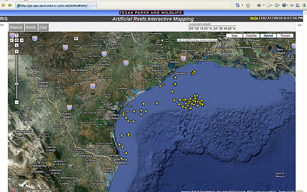 Tpwd artificial reefs interactive map frequently asked questions full screen view of application map sciox Gallery