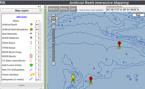 tpwd  artificial reefs interactive map frequently asked