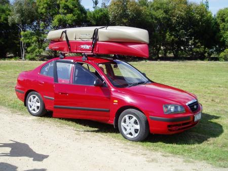 Kayak Shown Properly Mounted On Vehicle
