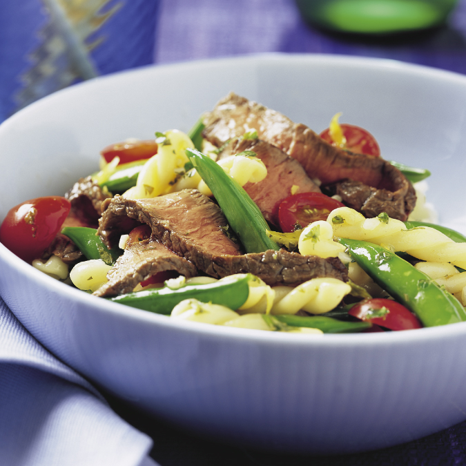 Sirloin with Sugar Snap Peas, © Courtesy Texas Beef Council