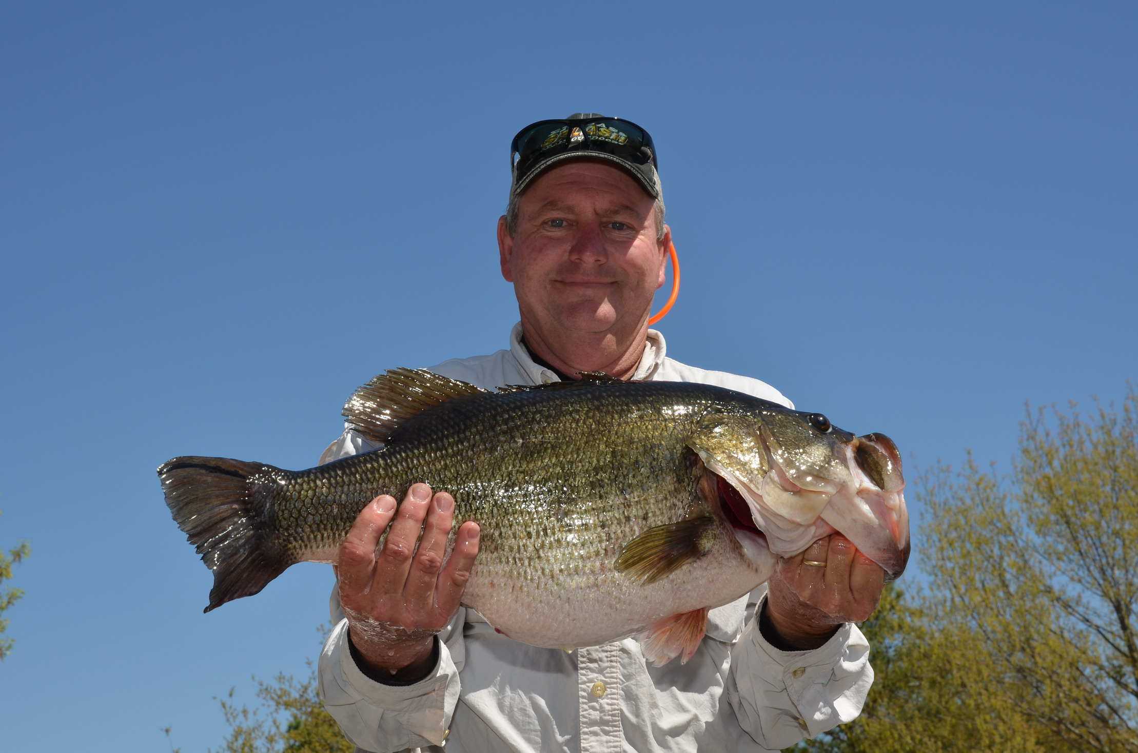 Donald Deville of Ville Platte, Louisiana, caught Toyota ShareLunker 547 from Lake Fork March 20, Larry D. Hodge, © Texas Parks and Wildlife Department