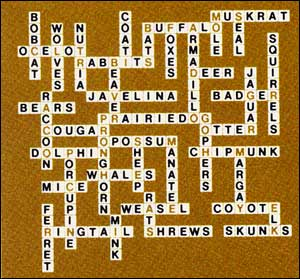 Answers to Mammal Scrabble Puzzle 1