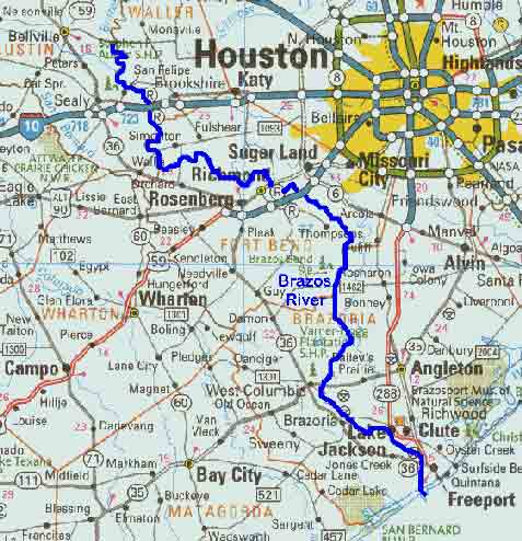 Brazos River Map TPWD: Brazos River Map