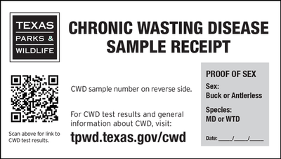 chronic wasting disease sample receipt