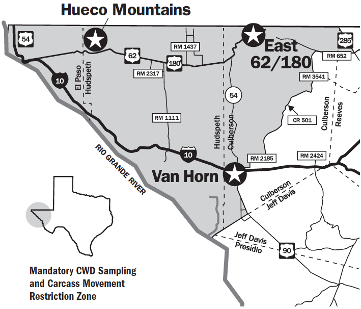 Mandatory CWD Sampling and Carcass Movement Restriction Zone in El Paso, Hudspeth, and parts of Culberson county