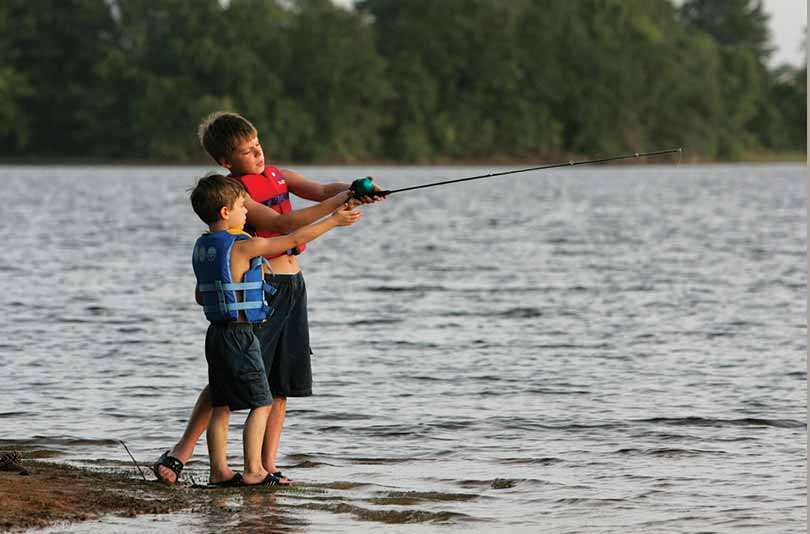 Boys fishing at Martin Creek State Park