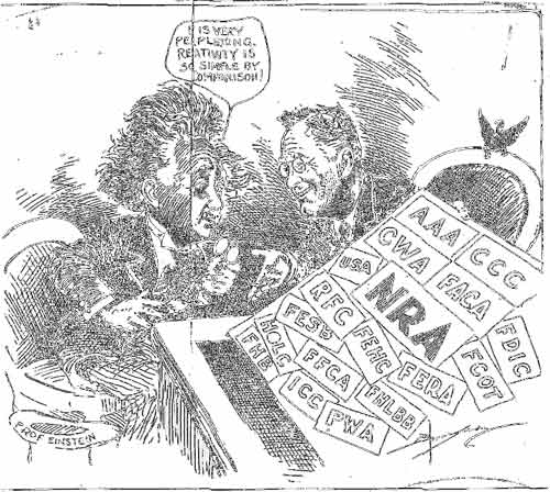 Cartoon of Einstein and FDR, making fun of FDRs alphabet soup - Basil OConner collection, Texas Parks and Wildlife