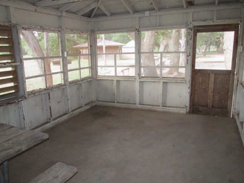 Interior of a screened shelter at Abilene State Park
