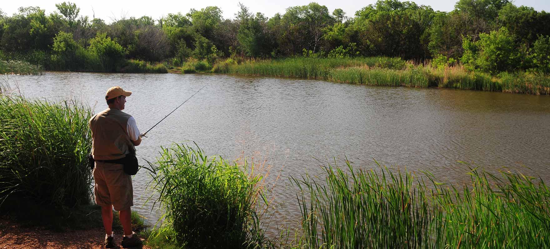 Fishing in the Buffalo Wallow pond.