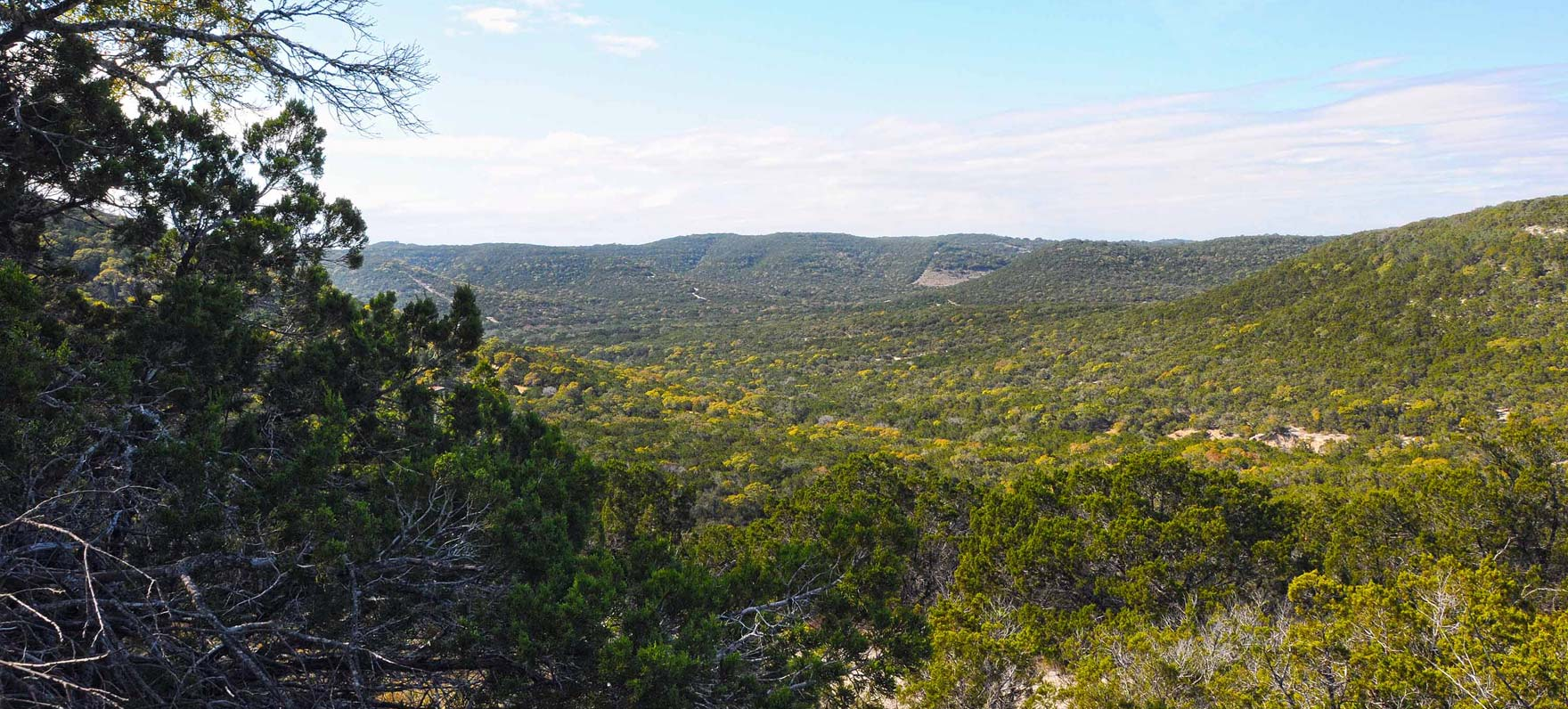 Overlooking the hills at Albert & Bessie Kronkosky State Natural Area. This park is not yet open.