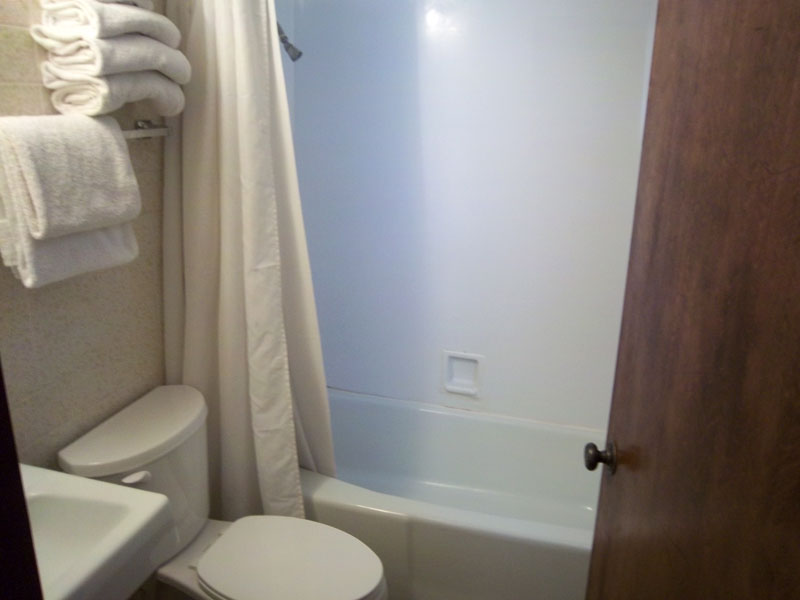 The bathroom in a suite.