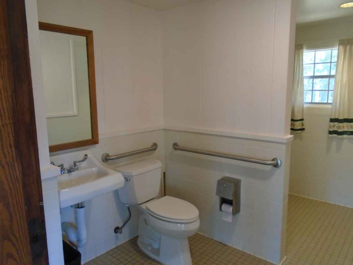 The bathroom in Cabin 12 is wheelchair friendly.
