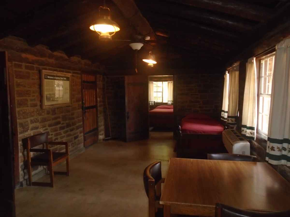 The living area of Cabin #4, looking away from the fireplace.