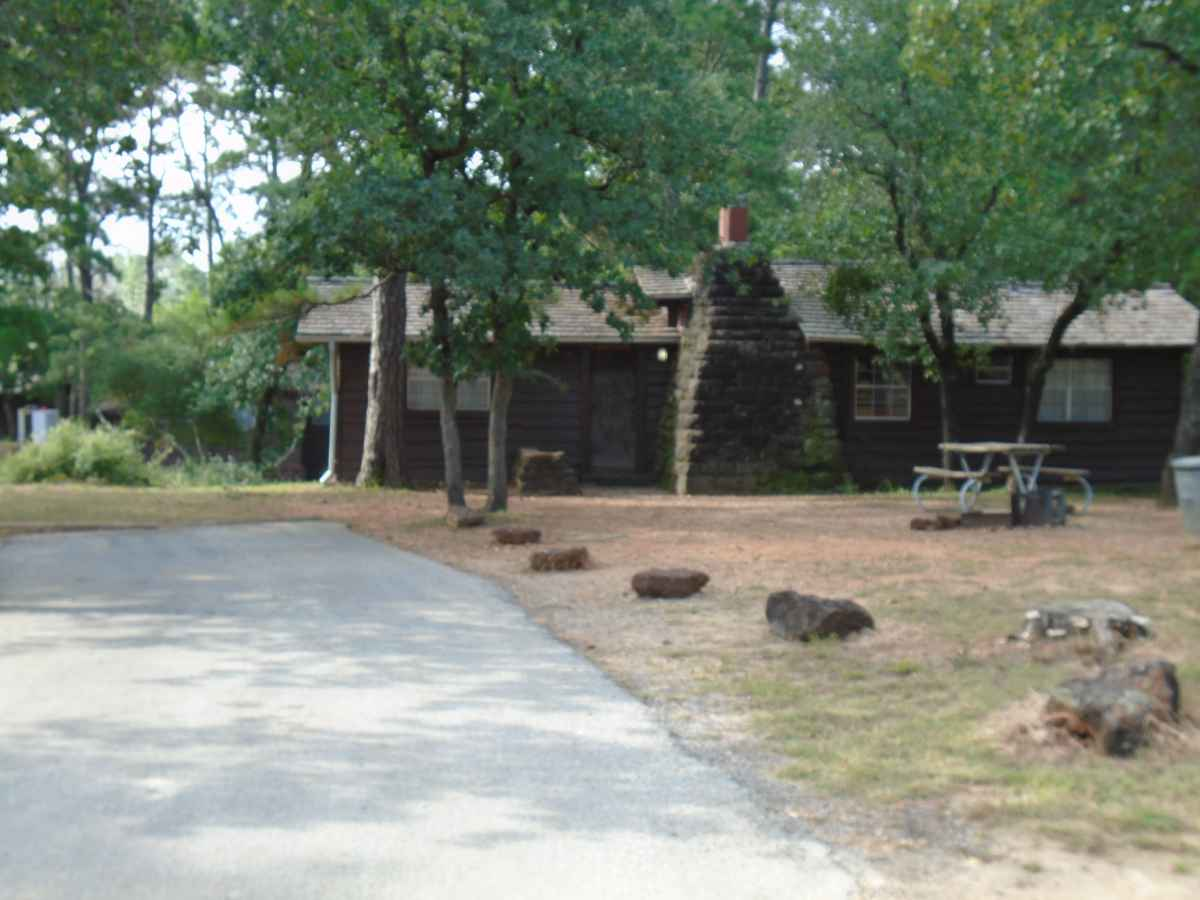The parking area and front of Cabin 7.