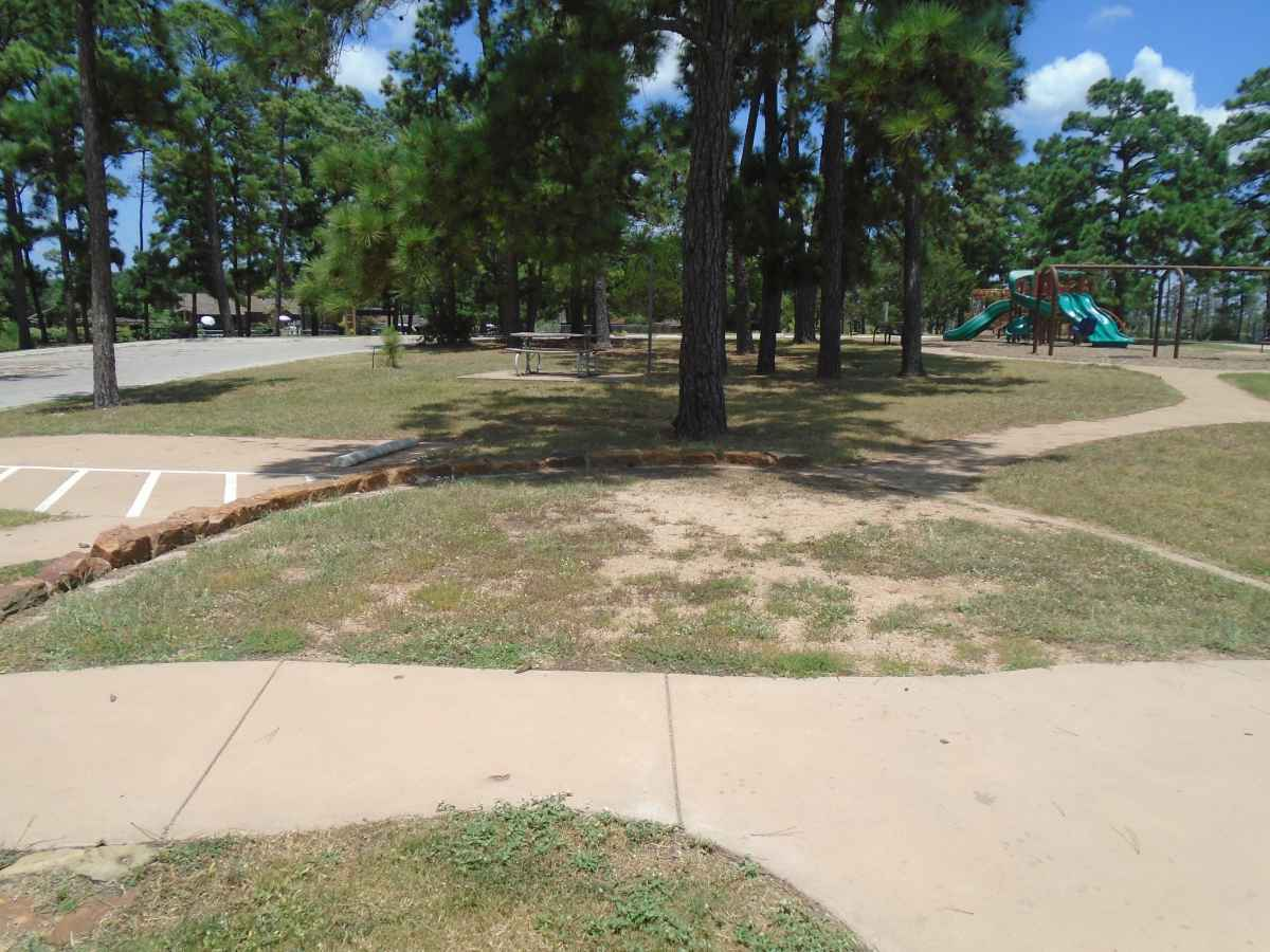 Accessible Campsite #27 is close to the bathrooms and has paved walkways designed for use with a wheelchair.