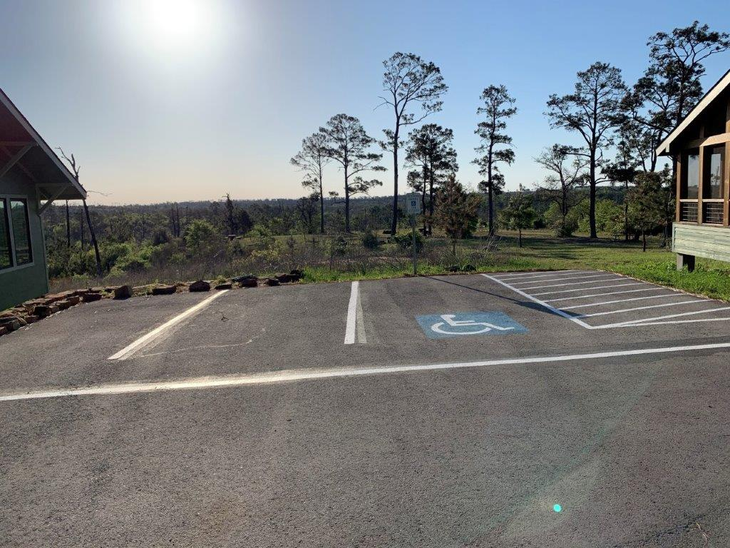 Accessible parking and paths to the dorms.