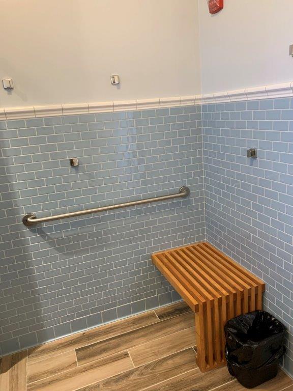 Dorm bathroom bench