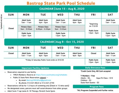 View a larger version of this graphic of the pool schedule