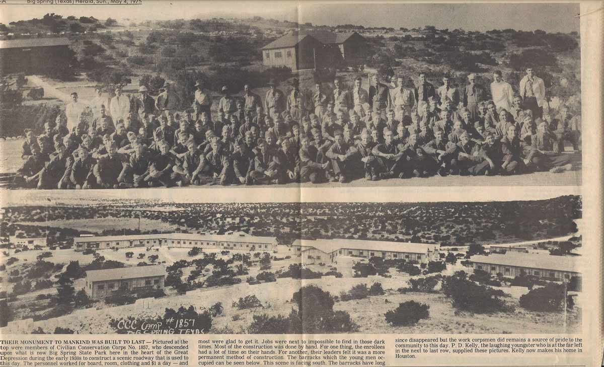 Newspaper clipping showing assembled company and their worksite
