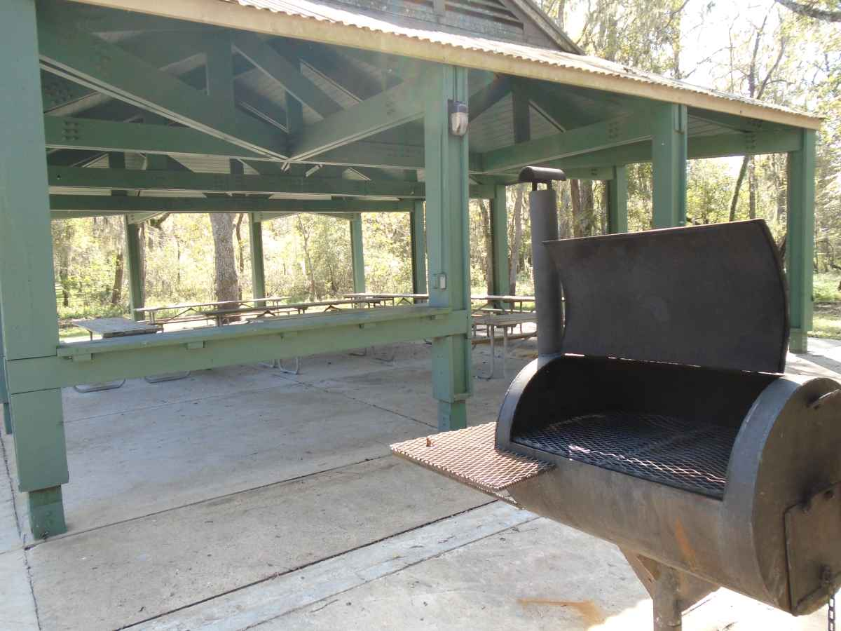 A cooking grill at Pavilion #2 in the Elm Lake area.