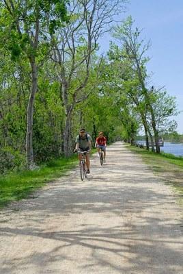 Two guys biking on a trail
