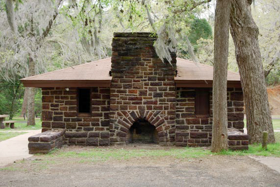 Looking at the outdoor fireplace at the Group Picnic Pavilion.