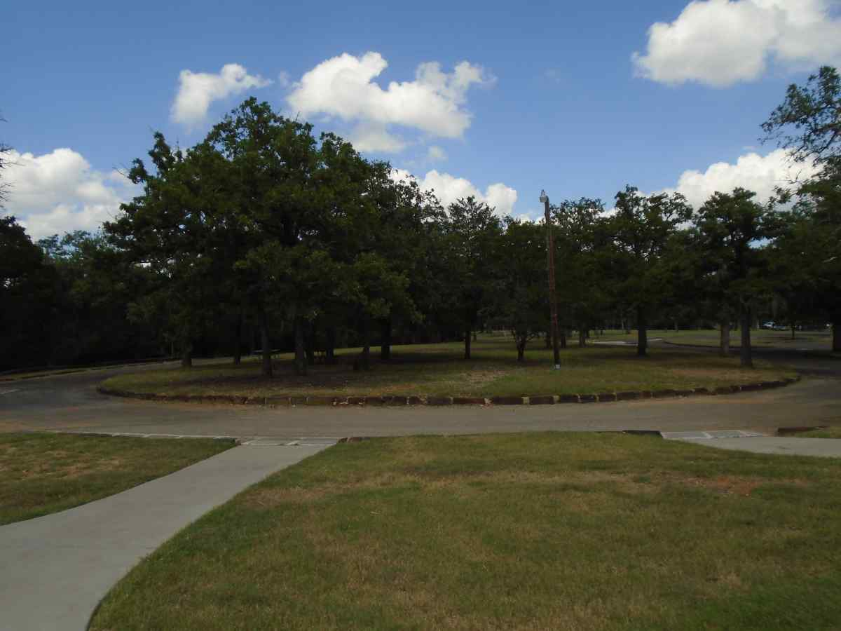Looking at the parking area for the Group Recreation Hall.