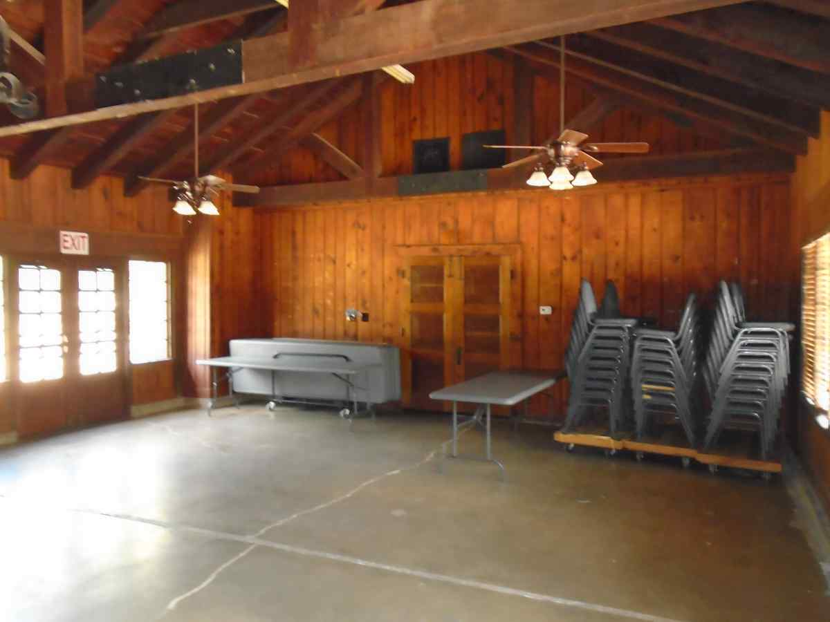 Inside the main room of the Recreation Hall.