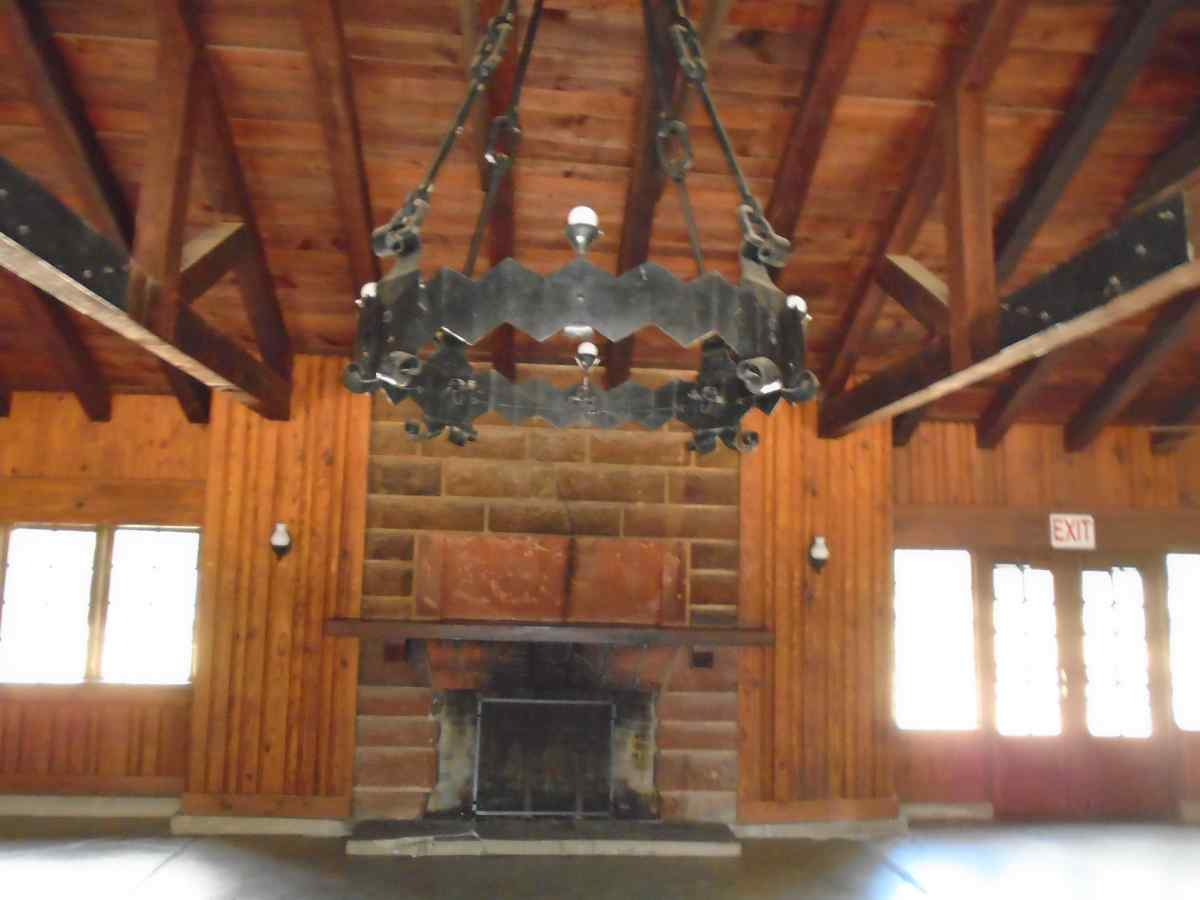 The fireplace inside the Recreation Hall.