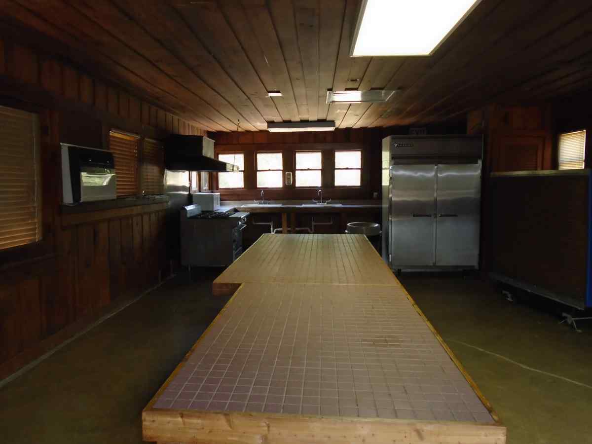 Inside the kitchen area of the Group Recreation Hall.