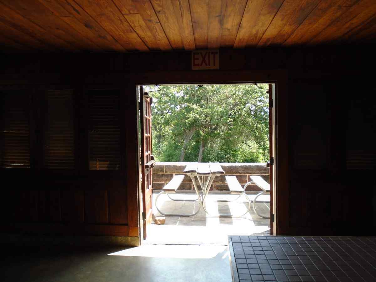 Looking out at the back deck from inside the Recreation Hall.