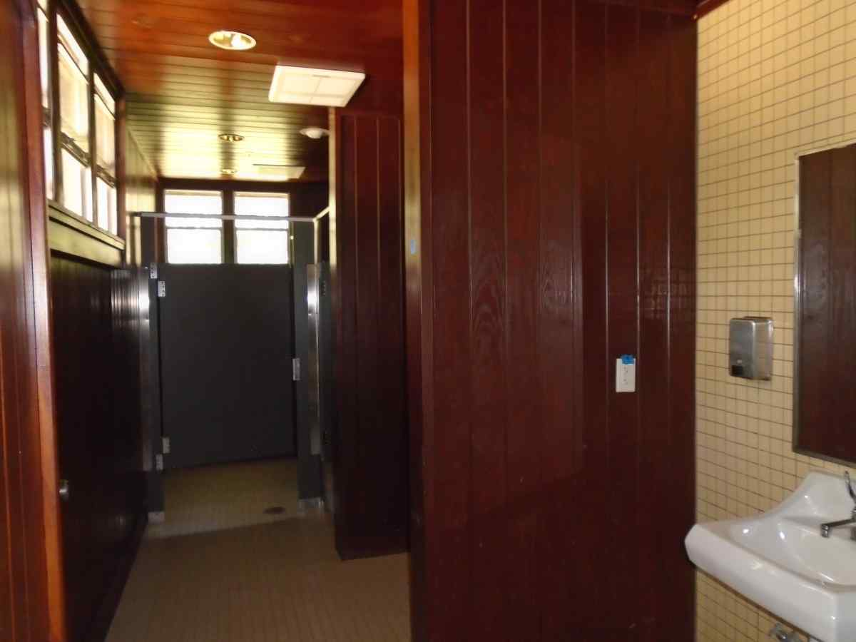 The bathrooms inside the Group Recreation Hall.