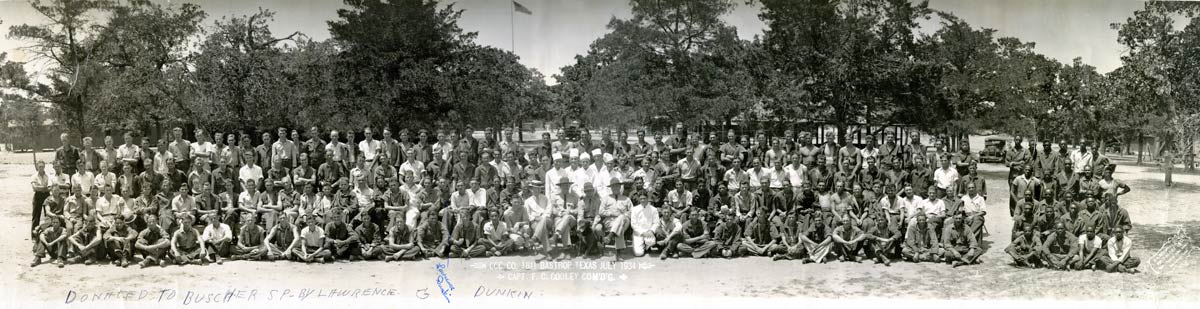 Historic photo of assembled CCC company divided by race