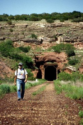 Hiker leaving Clarity Tunnel