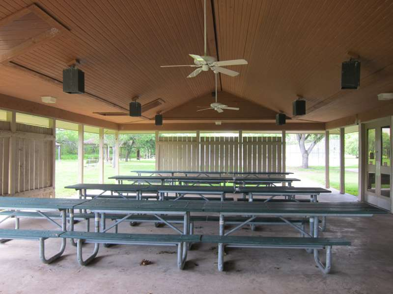 Inside the dining area of the Group Dining Hall, in the Sports Complex Area.