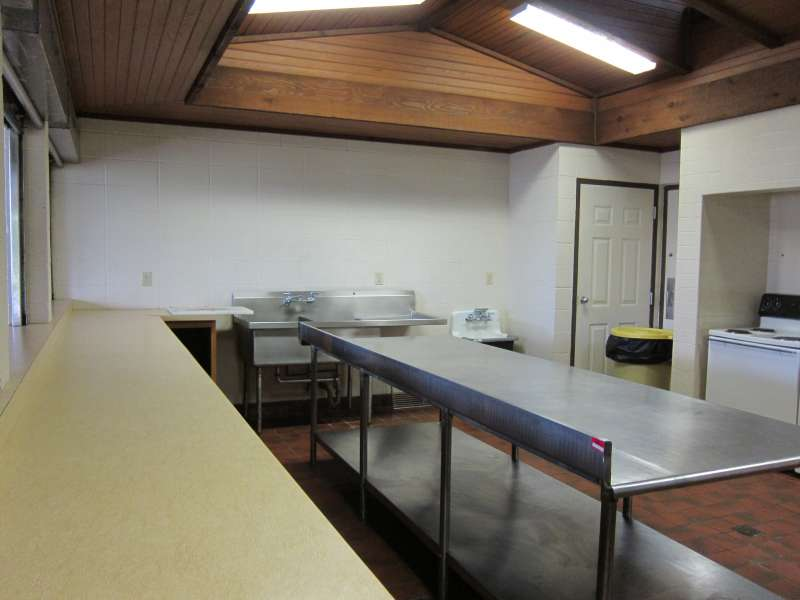 Inside the kitchen area.