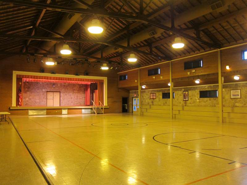 Inside the Gymnasium from the northeast entryway.