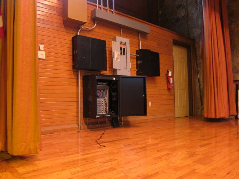The sound system control (PA) in the Gymnasium.