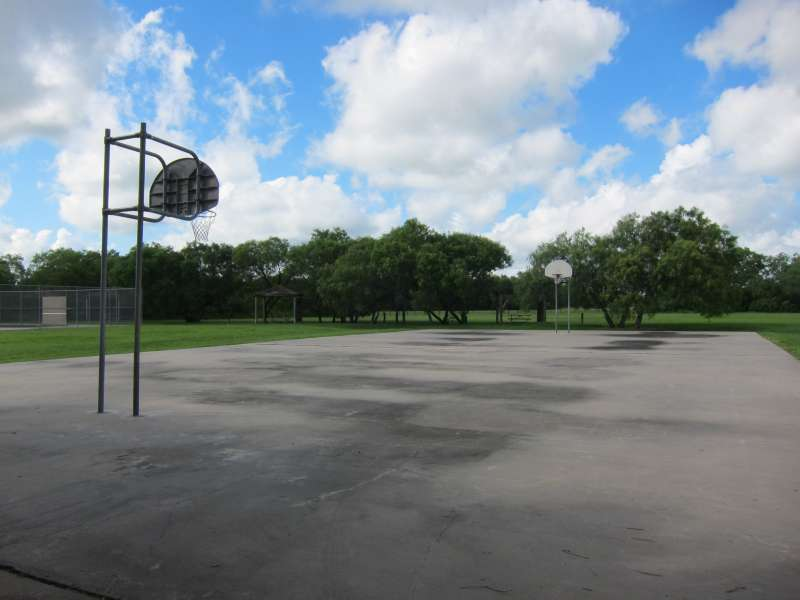 This outdoor basketball court is in the Sports Complex Area with the Gymnasium/stage and the Dining Hall.