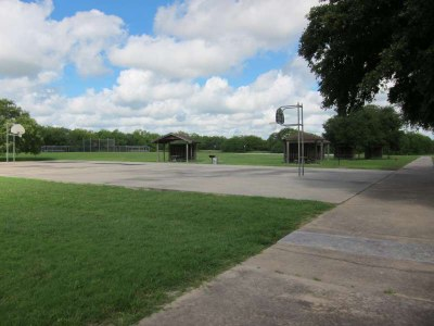 The wheelchair accessible basketball court in the Sports Complex area.