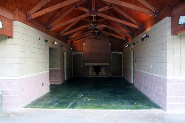 Group Barracks Breezeway and Fireplace